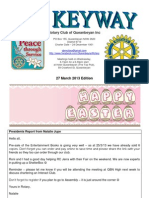 The Keyway - 27 March 2013 Edition - weekly newsletter for the Rotary Club of Queanbeyan