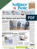 Walliser Bote 22. März 2013 Seiten 1 und 2, Titelseite