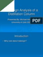 Presentation Redesign Analysis of Distillation Column
