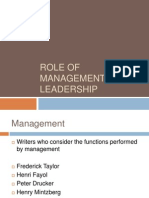 Role of Management and Leadership- OVERVIW