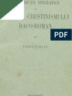 Vasile Parvan Contribuii Epigrafice La Istoria Cretinismului Dacoroman