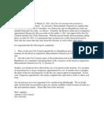Letter to Lantigua on Board of Registrars