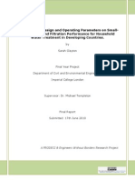 The Impact of Design and Operating Parameters on Small-Scale Slow Sand Filtration Performance for Household Water Treatment in Developing Countries
