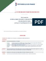 Avis de la CCI de région Paris Ile-de-France sur le projet de schéma directeur de la région Ile-de-France « Ile-de-France 2030 », arrêté par le Conseil Régional le 25 octobre 2012