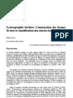 Lexicographie berbère - Construction des formes de mot et classification des entrées lexicales - Miloud Taifi