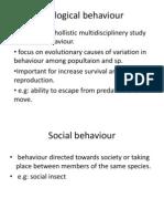 Ecological Behaviour- Week 6