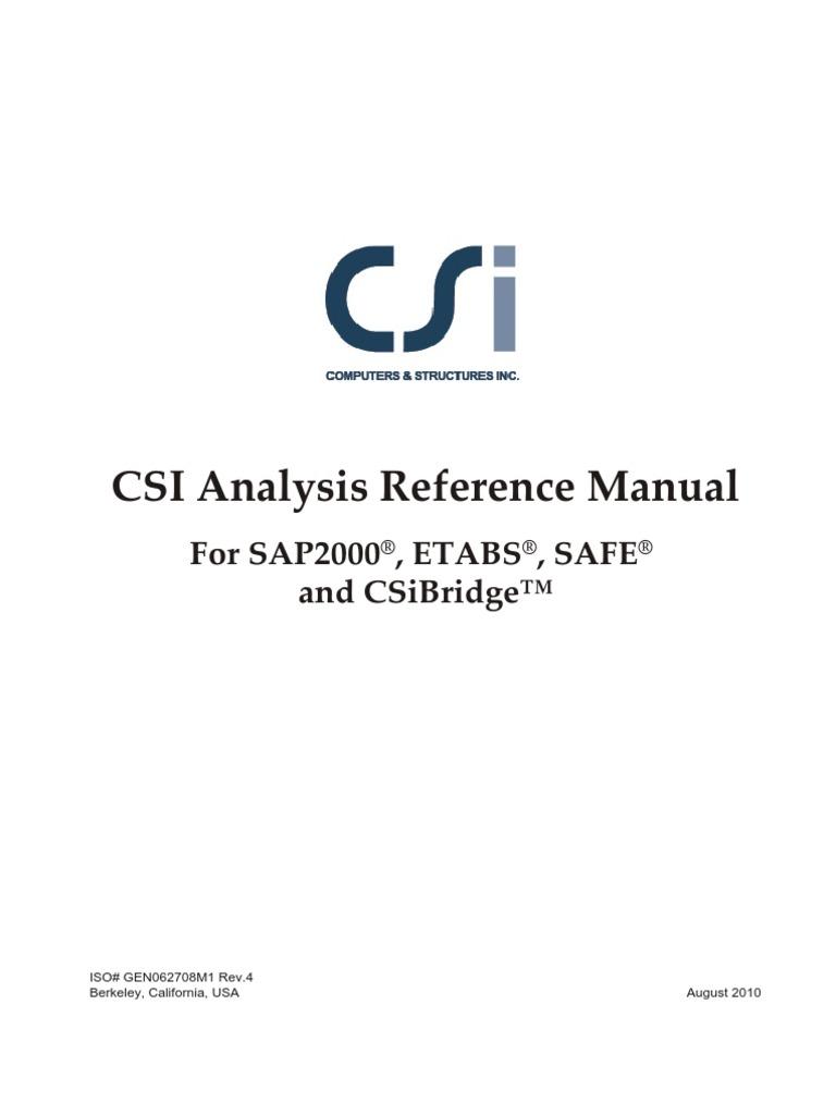 Manual Sap2000 Etabs Safe Csbridge | Cartesian Coordinate System |  Deformation (Mechanics)