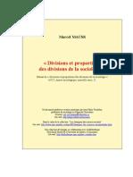 Mauss Divisions Et Proportions de La Sociologie