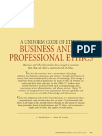 Uniform Code of Ethics Business and It Professional Ethics