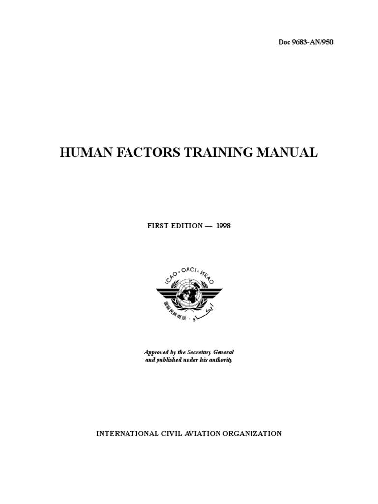 icao doc 9683 an 950 en human factors and ergonomics insomnia rh scribd com icao human factors training manual doc 9683 download Human Factors in Aviation
