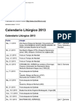 Calendario Litúrgico 2013
