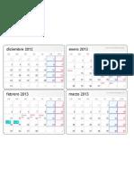 Calendario Diciembre Marzo 2013