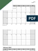 2013 Monthly Calendar Participation