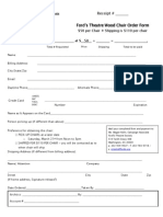 Ford's Theatre chair Order Form