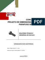 RELATÓRIO TÉCNICO E MEMORIAL DE CÁLCULO
