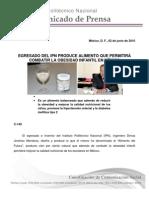 Cf-149 Egresado Del Ipn Produce Alimento Que Permitira Combatir La Obesidad Infantil en Mexico