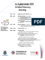 Detailed Itinerary - Day of the Conference