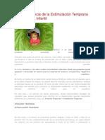 La importancia de la Estimulación Temprana en la Etapa Infantil