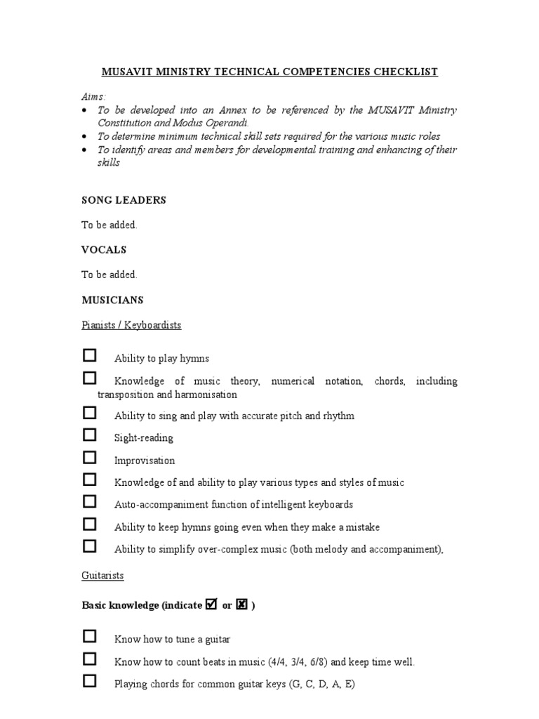 5d Technical Competencies Checklist Editedc Drum Kit Musical
