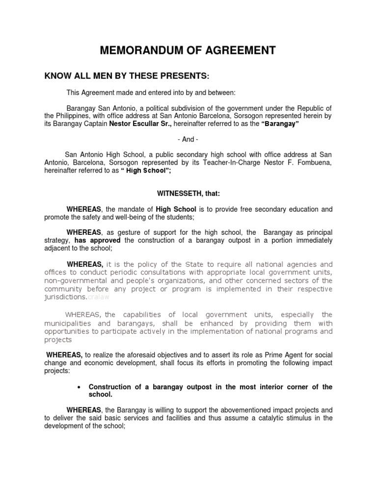 Memorandum Of Agreement Local Government Secondary School