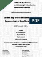 Ogolnopolska konferencja naukowa Jedna czy wiele fenomenologii