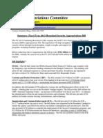 DHS FY 13 CR House Summary