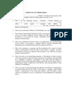 Affidavit of Undertaking - New