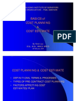 Basic cost Planning &  Cost Estimate