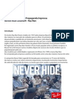 Análise Semiótica de Propaganda Impressa NEVER HIDE LEGENDS - Ray-Ban