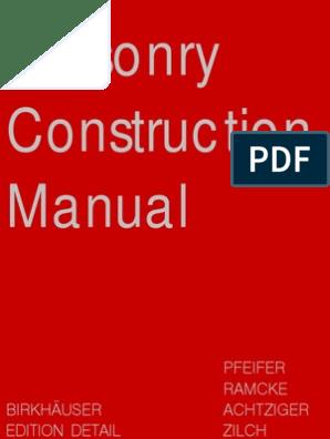 Masonry Construction Manual | Brick | Clay on