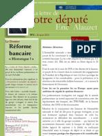 Lettre n°3 -Eric Alauzet - 27 mars 2013 - La réforme bancaire