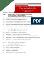 2013 Technical Open House - Presentation Schedule