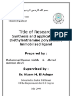 Synthesis and application of Diethylentriamine polysiloxane Immobilized ligand