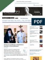 Il Vescovo Di Roma e Il Patriarca Insieme a Gerusalemme ?