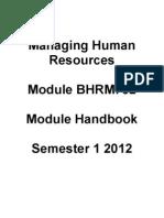 MHR Module Handbook Sem 1 2012