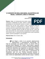 O CONCEITO DE BELO EM GERAL NA ESTÉTICA