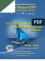 Resumen de Ponencias II Simposio Internacional Del Lago Titicaca - TDPS
