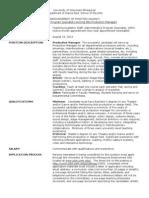 Prod Mgr Position Description
