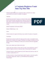 TRABAJO de BASE de DATOS Funciones Conjunto Registros Count Sum Avg Max Min
