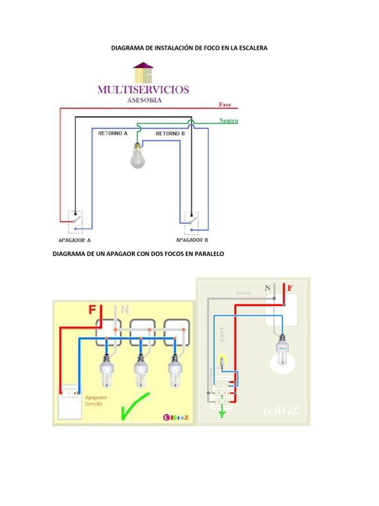 Diagrama de instalaci n de foco en la escalera - Instalacion de videoportero ...