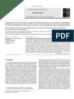 6 PRESERVATION Inactivation of Listeria Salmonela Juices by High Pressure Homogenisation Velazquez FoodControl 2007