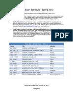 2013 Final Exam Schedule Spring