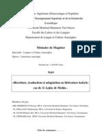 Réécriture, traduction et adaptation en littérature kabyle - cas de Si Lehlu de Mohia - LAOUFI Amar