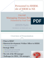 114241 Topic 1 From Personnel to SHRM Role of HRM in NZ