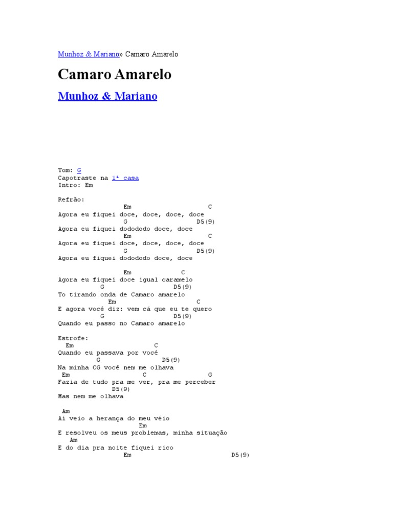 CAMARO AMARELO MUSICA REMIX A BAIXAR GRATIS