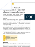 Hamill and Sinclair Bracketing – practical   considerations in Husserlian   phenomenological research