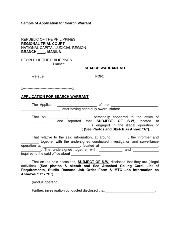 sample search warrant K\ affidavit for search warrant -,uniform controlled dangerous substance act original ~, st}:te of oklahoma, } ss in the district court county of tulsa, }.