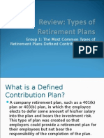 Review Types of Retirement Plans Section 1 Defined Contribution Plans 2009