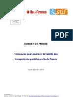 Dossier de Presse - 10 mesures transports Île-de-France