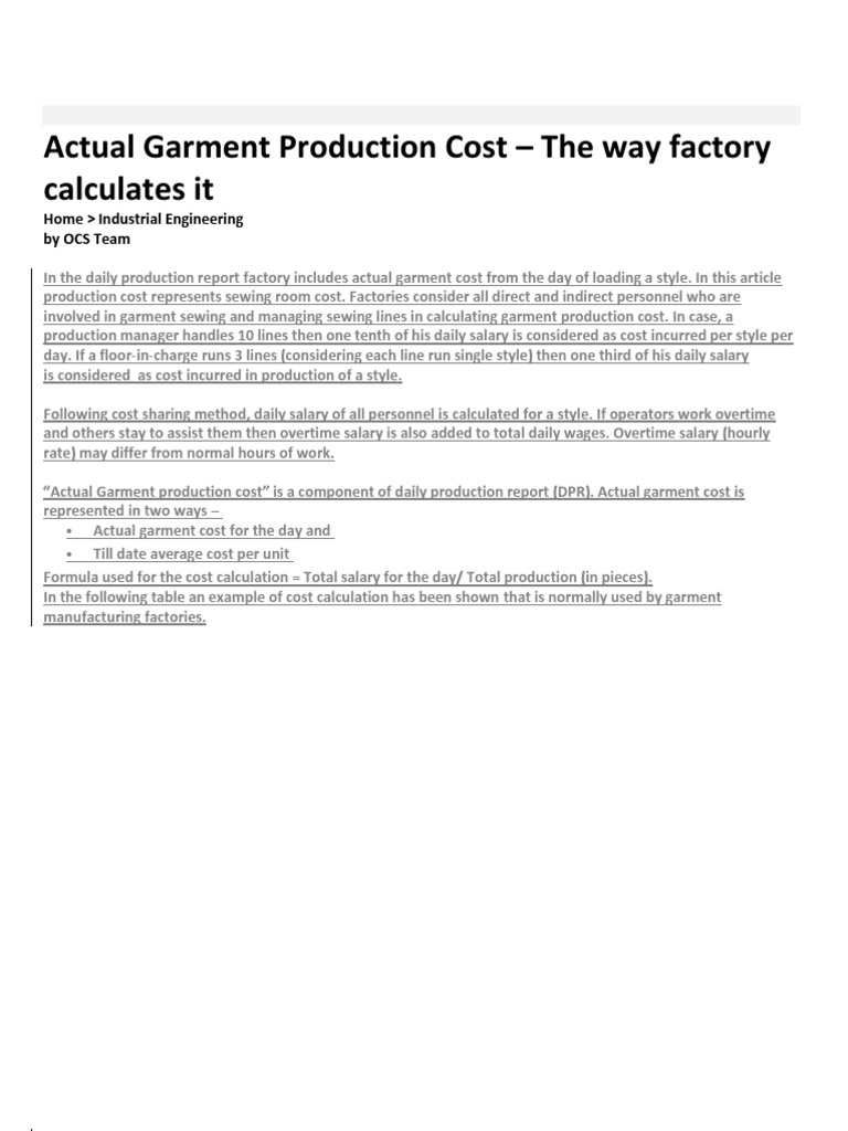 Define motion study - Actual Garment Production Cost Of A Garments Company